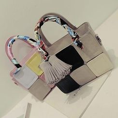 Youme - Tasseled Color Block Scarf Wrap Handle Handbag