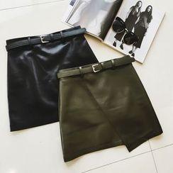 Jack Grace - Faux-Leather A-Line Skirt