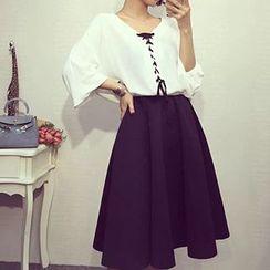 Reis - Set: Lace-Up V-Neck Blouse + Midi A-Line Skirt