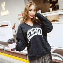 clicknme - V-Neck Lettering Brushed-Fleece Sweatshirt
