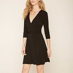 Rebecca - Plain V-neck Elbow-Sleeve Dress