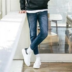 STYLEMAN - Fleece-Lined Washed  Skinny Jeans