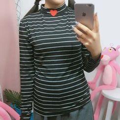 Dute - Striped Long Sleeve Mock Neck T-Shirt