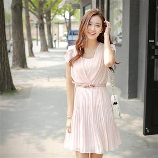 Styleberry - Petal Sleeve Pleated Chiffon Dress with Belt
