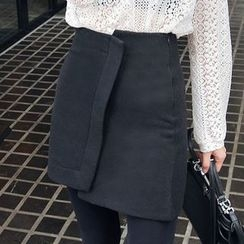 Seoul Fashion - Asymmetric-Hem Mini Skirt