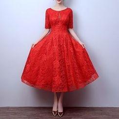 LYRA - Elbow-Sleeve Lace Evening Dress
