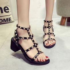 Zandy Shoes - Studded Chunky-Heel Sandals
