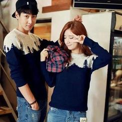 Evolu - Tree Print Color-Block Couple Sweater