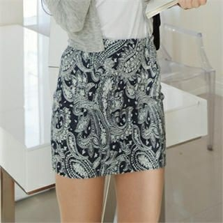 GUMZZI - Paisley Denim Miniskirt