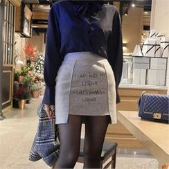LIPHOP - Wool Blend Lettering Asymmetric-Hem Skirt