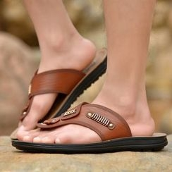Artree - Faux Leather Flip Flops