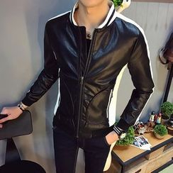 Hansler - Faux-Leather Zip Jacket