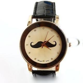 Miss Girl - Moustache-Print Strap Watch