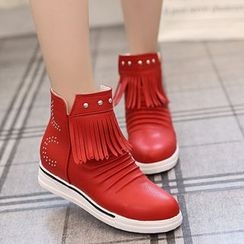 Yoflap - Fringed Hidden Wedge Ankle Boots