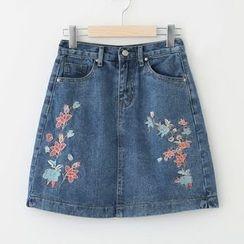 Meimei - Embroidered Denim Skirt