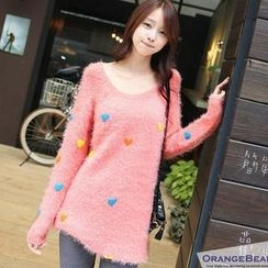 OrangeBear - Heart-Pattern Furry Sweater