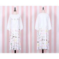 GOGO Girl - Floral Print Midi Skirt