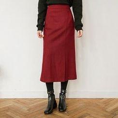 Seoul Fashion - Band-Waist Long Pleated Skirt
