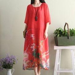 Fashion Street - 碎花中袖连衣裙