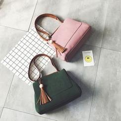 LINGLAN - Tasseled Faux Leather Shoulder Bag