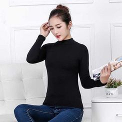 camikiss - Mock Neck Long-Sleeve T-Shirt