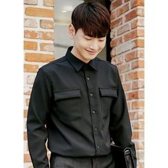 JOGUNSHOP - Long-Sleeve Dual-Pocket Shirt