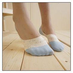 NANA Stockings - 圓點拼接隱形船襪