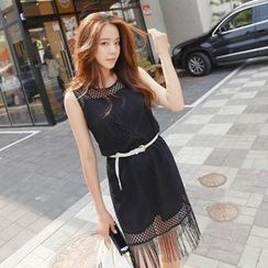REDOPIN - Set: Sheer Mesh Dress + Slipdress + Belt