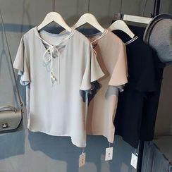 芷蓯夕 - 領結帶雪紡襯衫