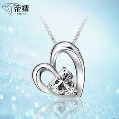 DIJING - Rhinestone Heart Pendant Sterling Silver Necklace
