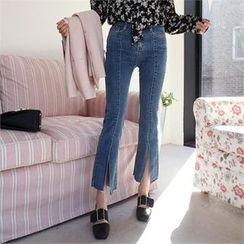 QNIGIRLS - Slit-Hem Seam-Front Boot-Cut Jeans
