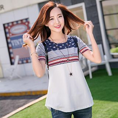 HANLIDU - Patterned Panel Short-Sleeve T-shirt