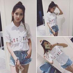 Whitney's Shop - 印花短袖雪纺衬衫