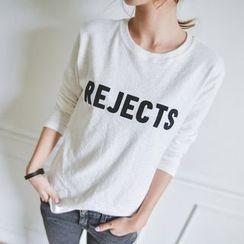 JUSTONE - Lettering Mélange T-Shirt