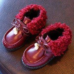 绿豆蛙童鞋 - 童装毛毛边乐福鞋