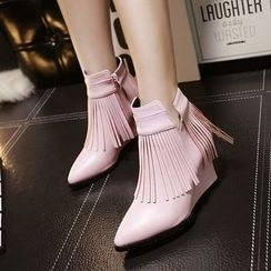 CITTA - Fringed Wedge Ankle Boots