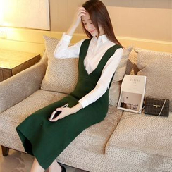 Shomez - Knit Jumper Midi Dress