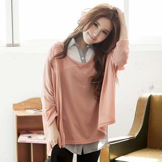 Tokyo Fashion - Tab-Sleeve Panel Chiffon Shirt