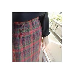 CHERRYKOKO - Zip-Back Plaid Pencil Skirt