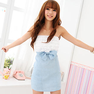 59 Seconds - Strapless Eyelet-Lace Denim Dress