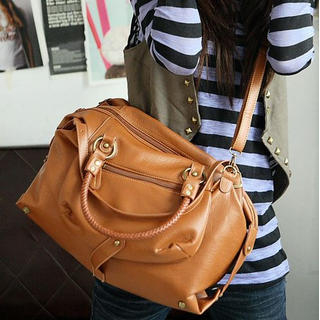 Faux-Leather Satchel