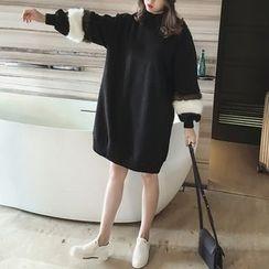 Little V - Furry Trim Mock Neck Sweater Dress