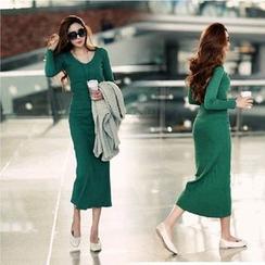 HotBlock - Long-Sleeve V-Neck Knit Midi Dress