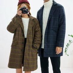 Seoul Homme - Couple Checked Boxy-Fit Wool Blend Coat