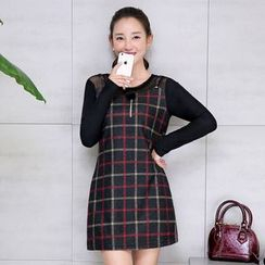 AiSun - Mock Two Piece Plaid Panel Long Sleeve Dress