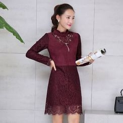 AiSun - Long Sleeve A-Line Lace Dress