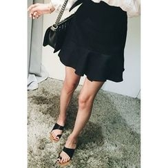 ATTYSTORY - Linen Plat-Front Ruffled-Hem Skirt