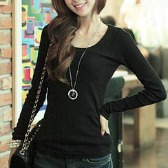 CLICK - Scoopneck Long-Sleeved T-Shirt
