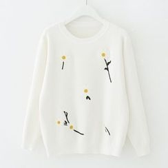 Meimei - Floral Embroidered Sweater