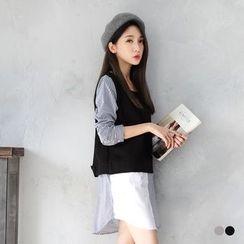 OrangeBear - Double Layer Plain Woolen Striped Shirt Dress